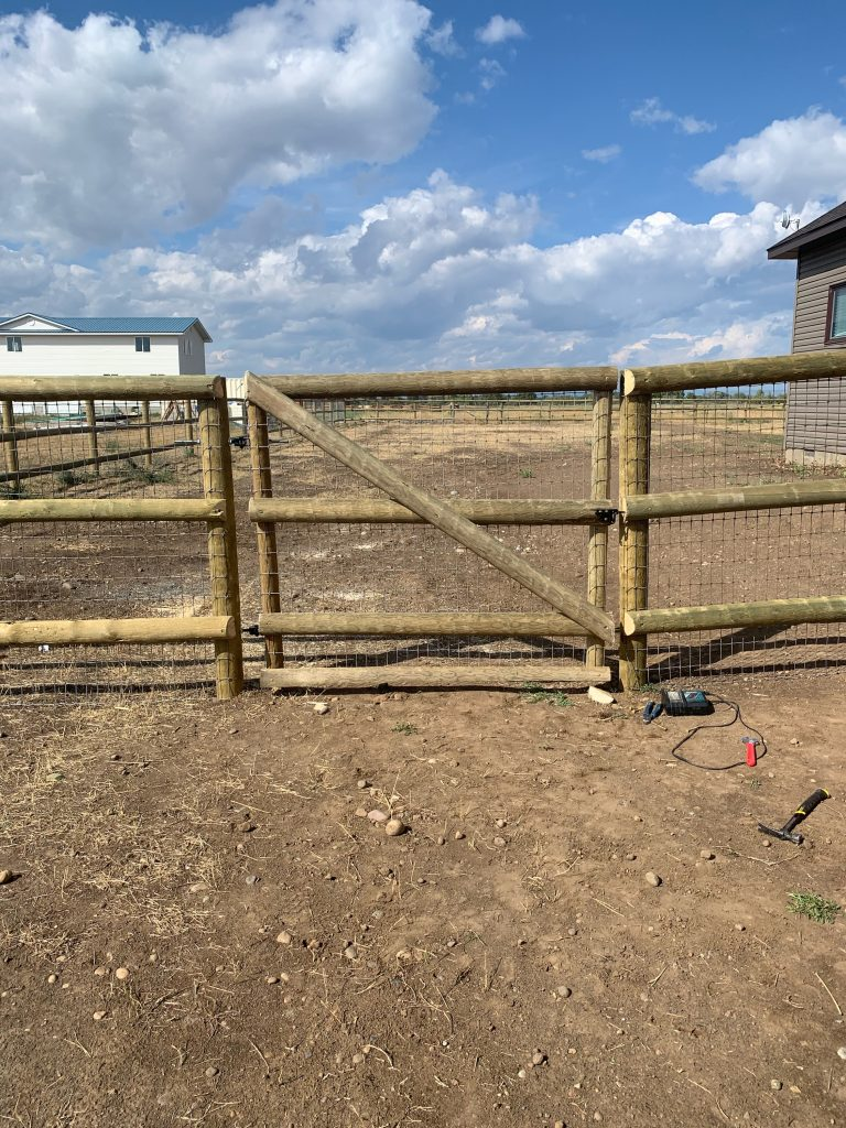 Treated Post and Rail with Welded Wire